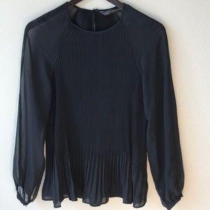 Zara Woman black pleated dress shirt size M